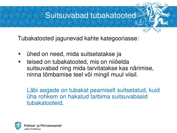 Suitsuvabad tubakatooted