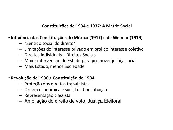 Constituições de 1934 e 1937: A Matriz Social