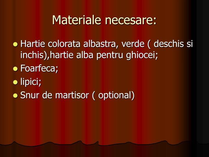 Materiale necesare: