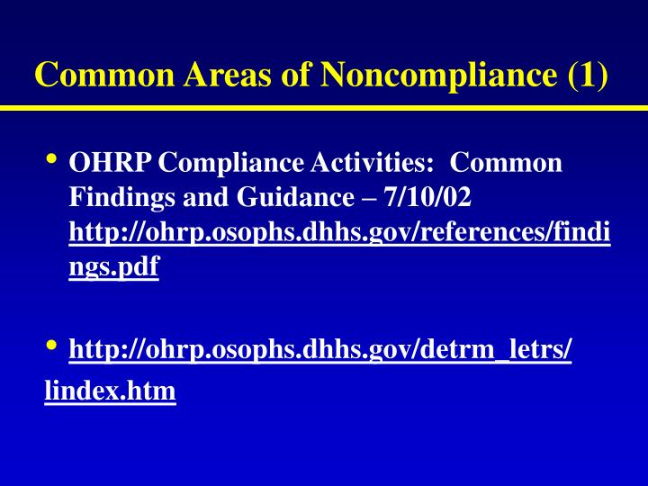 Common Areas of Noncompliance (1)