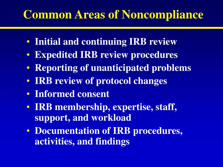 Common Areas of Noncompliance