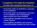 compliance oversight investigation possible determinations outcomes 1