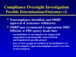 compliance oversight investigation possible determinations outcomes 2