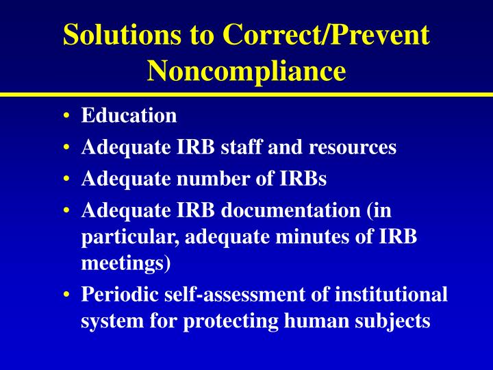Solutions to Correct/Prevent Noncompliance
