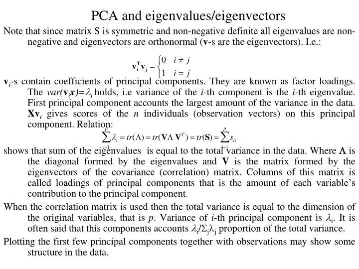 PCA and eigenvalues/eigenvectors