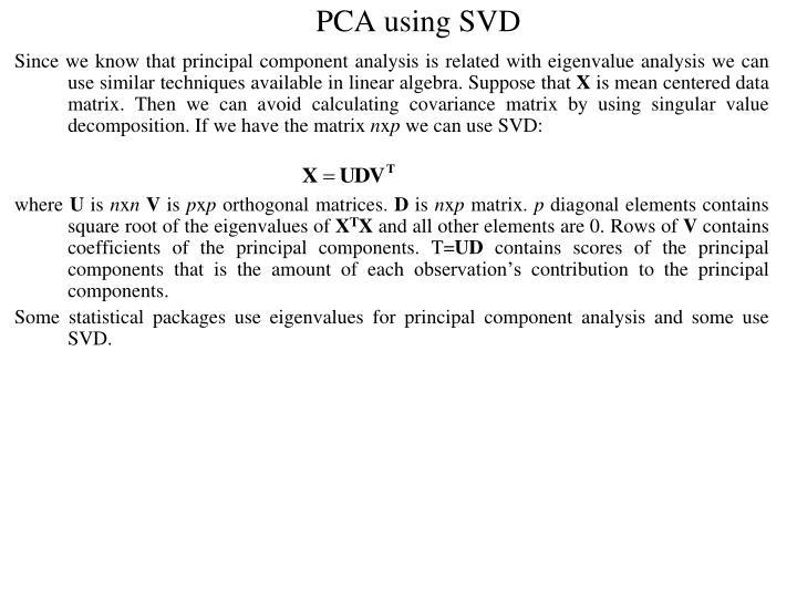 PCA using SVD