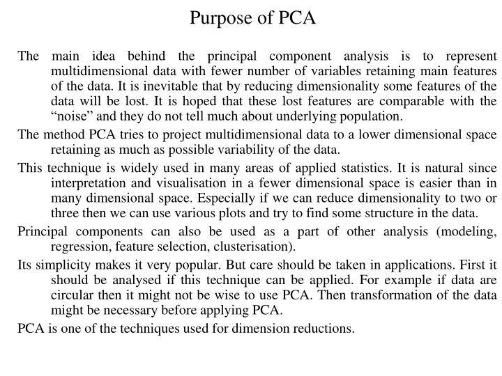 Purpose of PCA