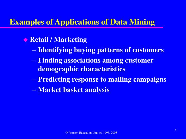 Examples of Applications of Data Mining