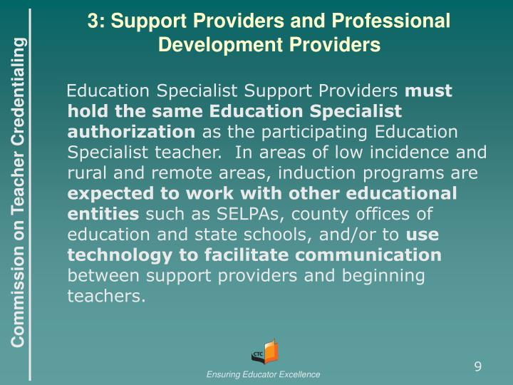 3: Support Providers and Professional Development Providers