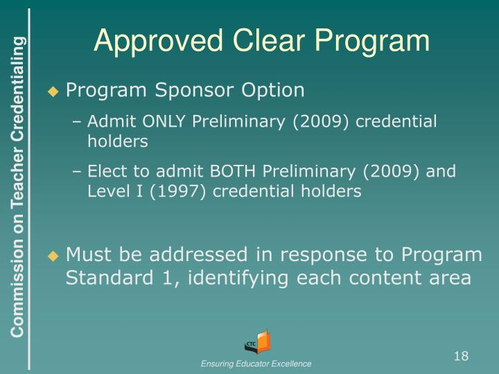 Approved Clear Program