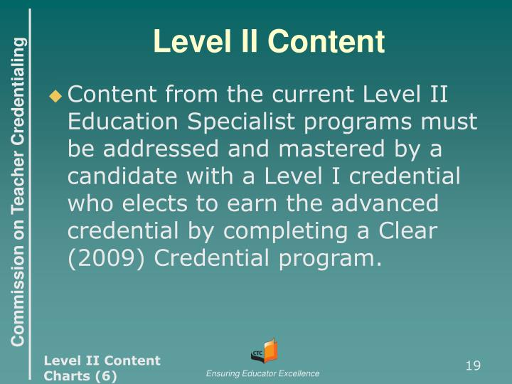 Level II Content