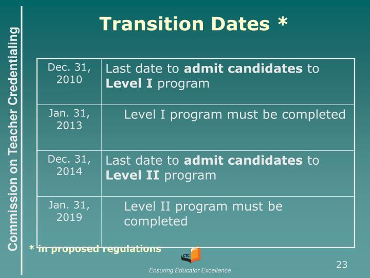 Transition Dates *