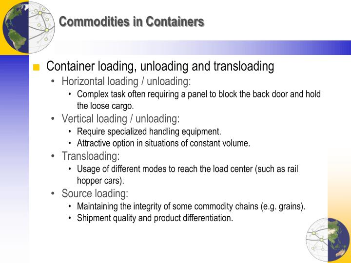 Commodities in Containers