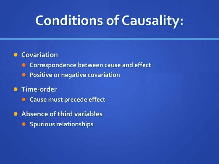 Conditions of Causality: