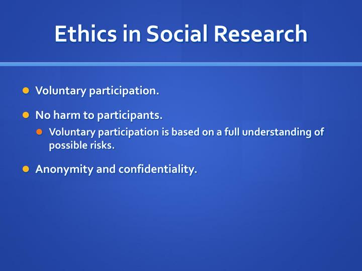 Ethics in social research