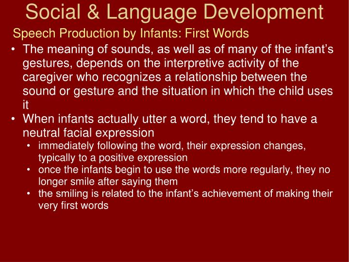 Speech Production by Infants: First Words