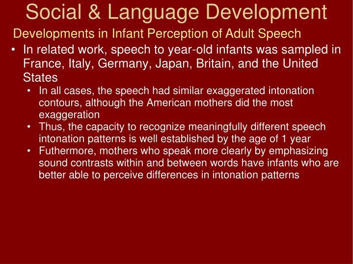 Developments in Infant Perception of Adult Speech