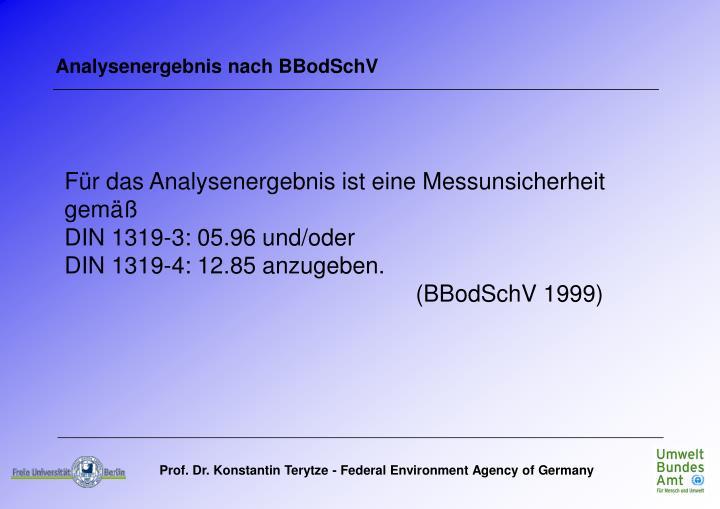 Analysenergebnis nach BBodSchV