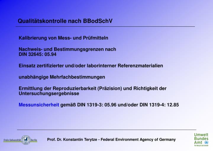 Qualitätskontrolle nach BBodSchV