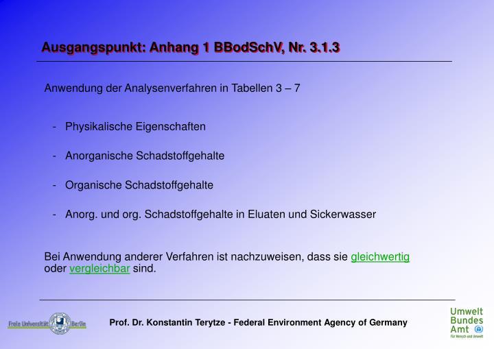 Anwendung der Analysenverfahren in Tabellen 3 – 7