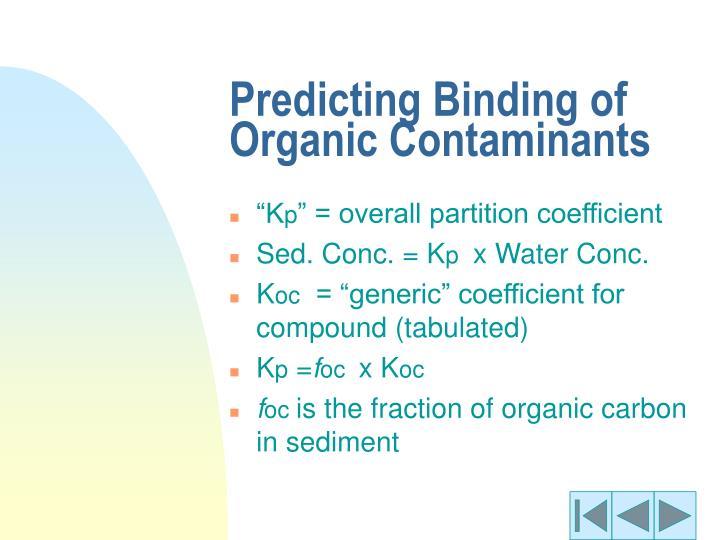 Predicting Binding of Organic Contaminants