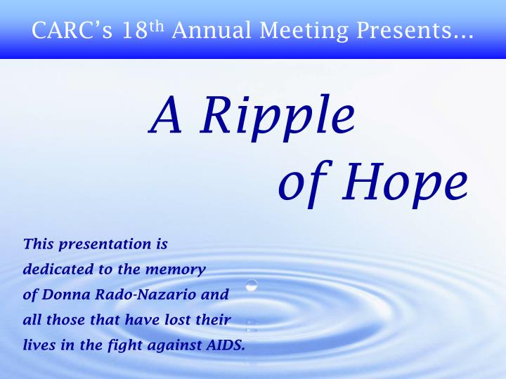 a ripple of hope