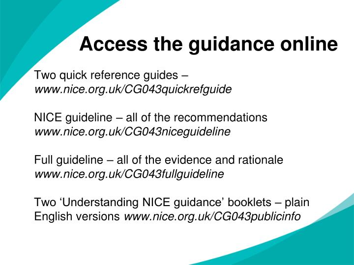 Access the guidance online