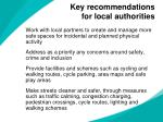 key recommendations for local authorities