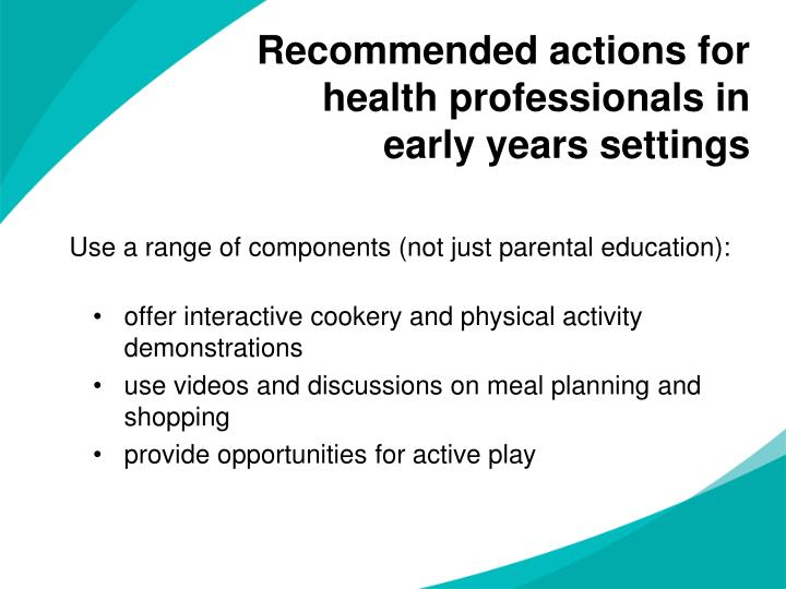 Recommended actions for health professionals in