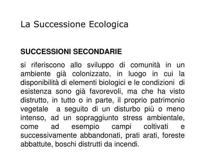 La Successione Ecologica