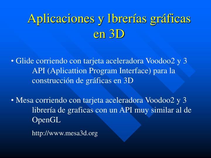 Aplicaciones y lbrerías gráficas en 3D