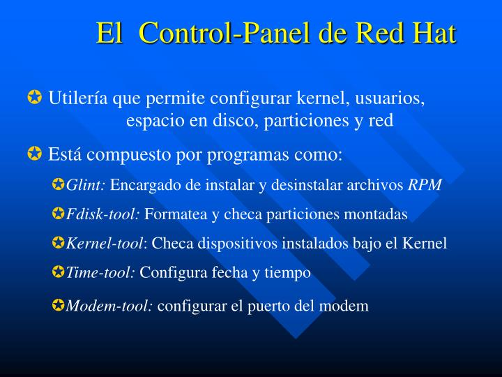 El  Control-Panel de Red Hat