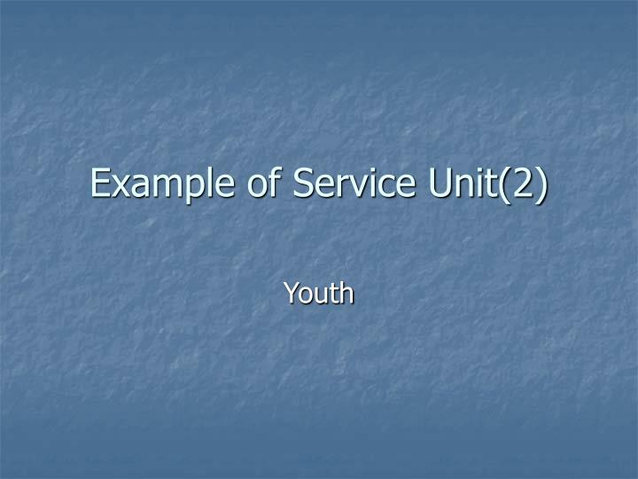 Example of Service Unit(2)