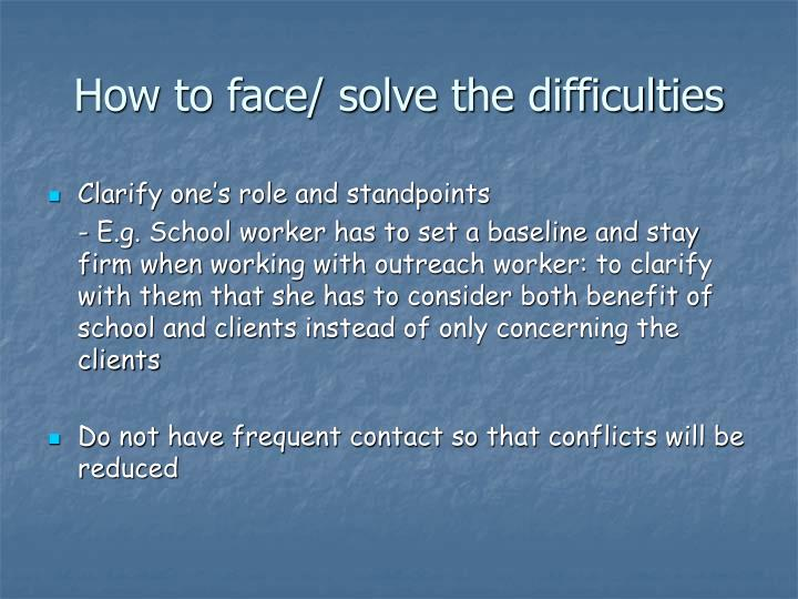 How to face/ solve the difficulties