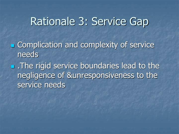 Rationale 3: Service Gap