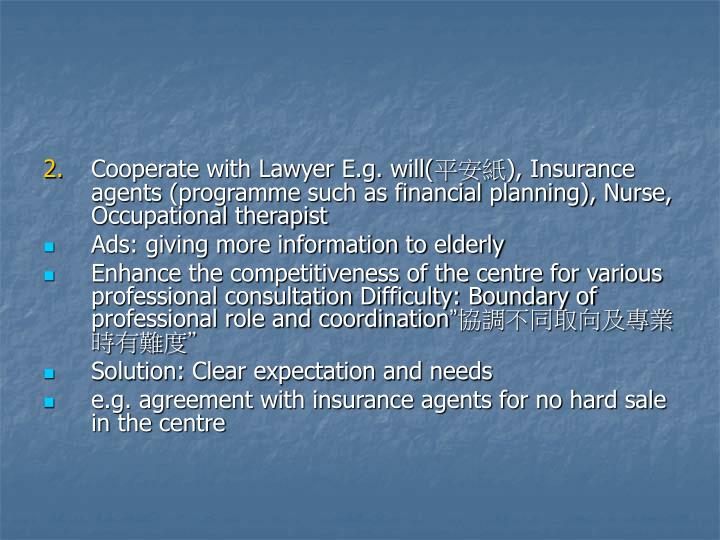 Cooperate with Lawyer E.g. will(