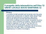 il progetto della telemedicina nell ulss 12 unita locale socio sanitaria 124