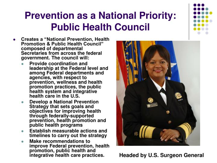 Prevention as a National Priority: Public Health Council