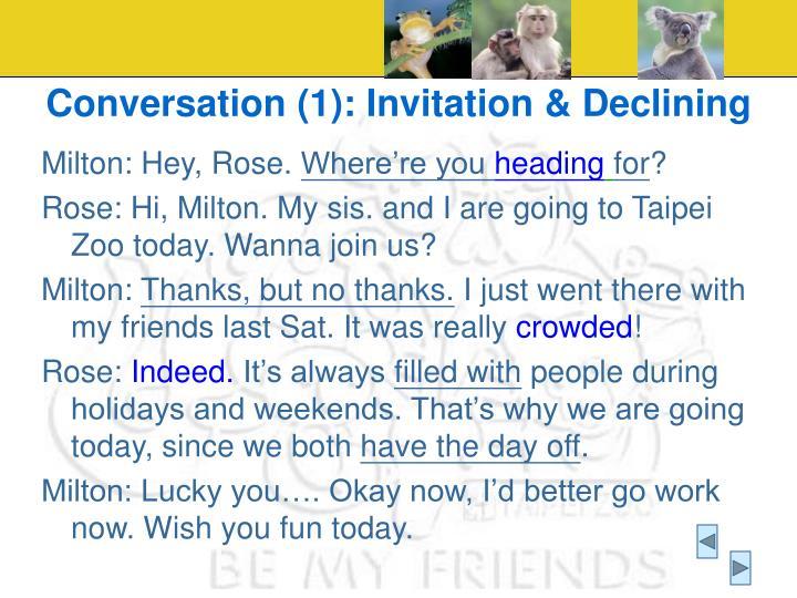 Conversation (1): Invitation & Declining
