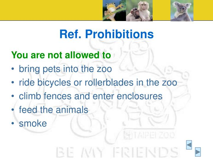 Ref. Prohibitions