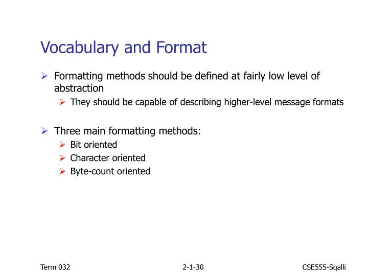 Vocabulary and Format