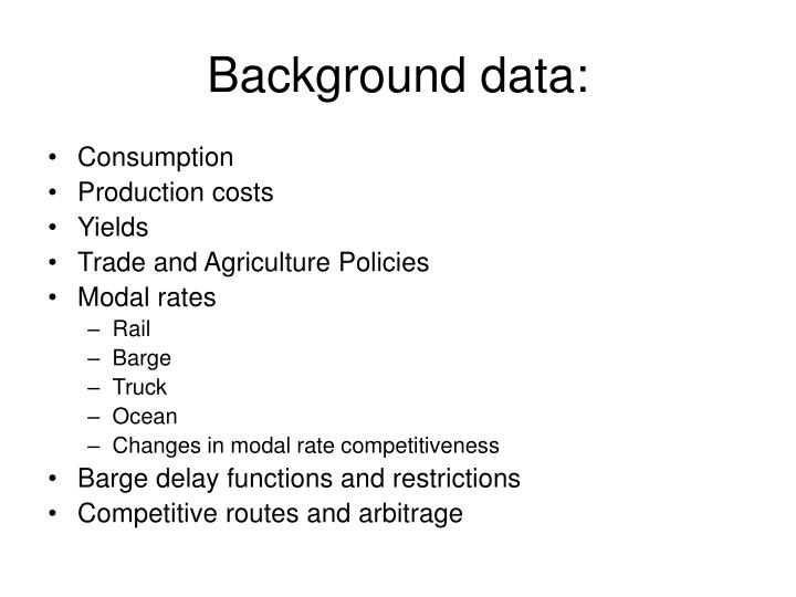 Background data: