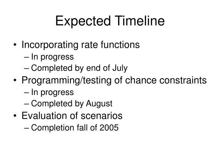 Expected Timeline