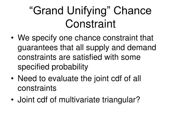 """""""Grand Unifying"""" Chance Constraint"""