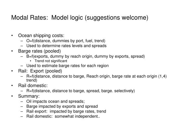 Modal Rates:  Model logic (suggestions welcome)