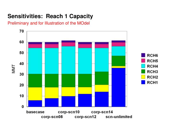 Sensitivities:  Reach 1 Capacity