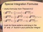 special integration formulas
