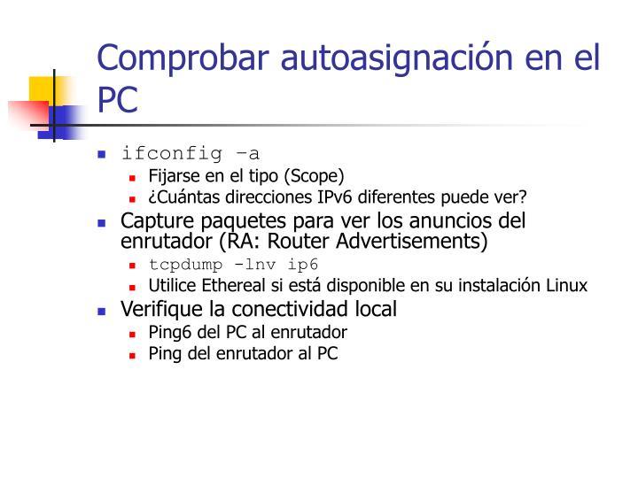 Comprobar autoasignación en el PC