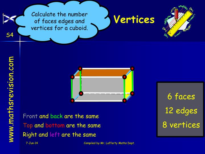 Calculate the number of faces edges and vertices for a cuboid.