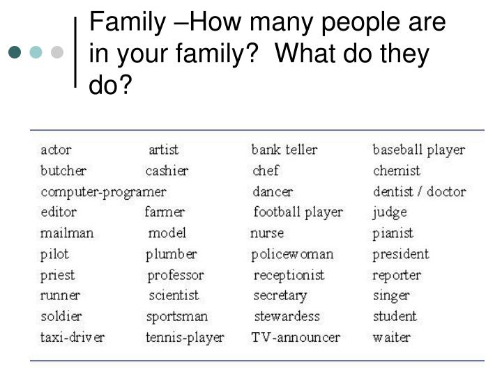 Family –How many people are in your family?  What do they do?